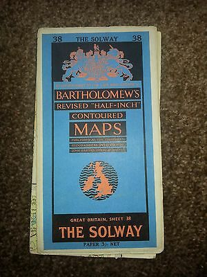 Antique Bartholomew Map - The Solway - Priced at Three Shillings
