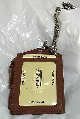 New Leather Id Badge Holder Tan Zippered Lanyard With Neck Chain 3 Cards Slot