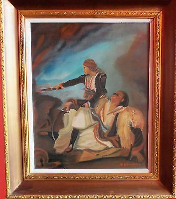 Vintage painting, reproduction of a battle from the GREEK REVOLUTION 1821