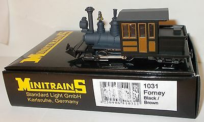 Minitrains 1031 - Forney 0-4-4T, Black/Brown - Boxed. (009/HOe Narrow Gauge)