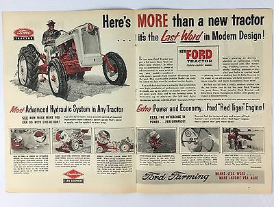 Vintage 1953 Original Print 2 page Ad FORD FARM TRACTOR Golden Jubilee Model