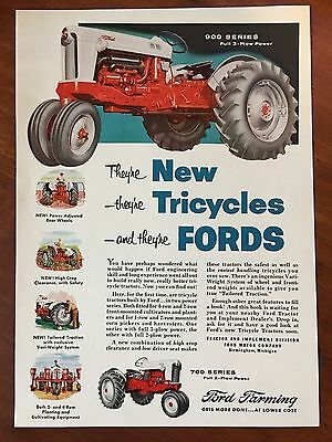 Vintage 1955 Original Print Ad FORD TRICYCLES TRACTOR 900 Series Full 3-Plow