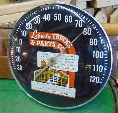 Vintage Liberty Trucks & Parts Round Curved Glass Thermometer Denver Colorado