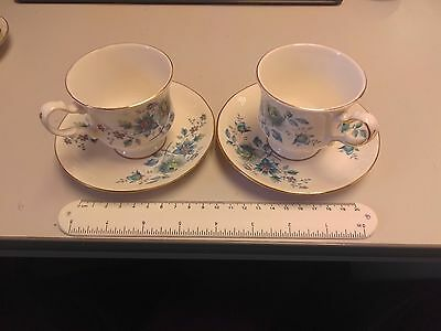 Pair of Queen Anne Bone China Tea Cups and Saucers