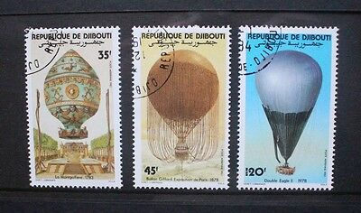 DJIBOUTI 1983 Manned Flight: Balloons. Set of 3. Fine USED/CTO. SG870/872.
