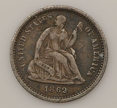 1862 Seated Liberty Silver Half Dime *G66