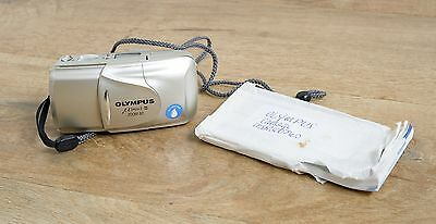 Olympus mju II zoom 80 weatherproof 35mm compact camera in champagne colour