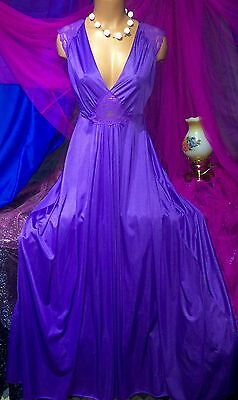 Vintage Van Raalte Olga Replica Purple Sheer Lace Nylon Plunge Sweep Long Gown M