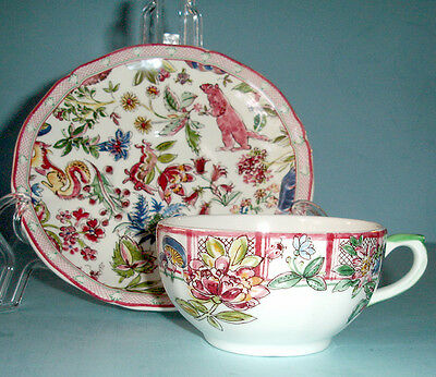 Gien Jardin Imaginaire Breakfast Cup & Saucer French Faience New