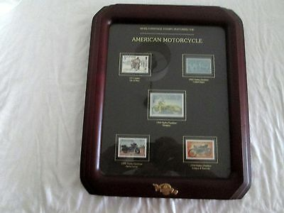 Framed Set Of 5 World Postage Stamps - American Motorcycles - Harley & Indian