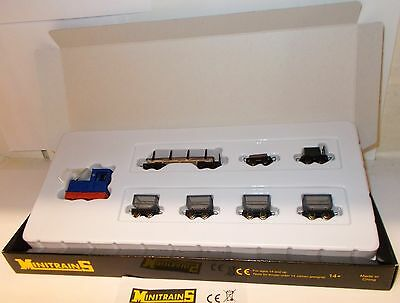 Minitrains 5093 - Gmeinder Diesel & 7 Wagons - Boxed. (009/HOe Narrow Gauge)