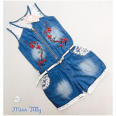 🖤 Girls Denim with Lace Back Playsuit Embroidered Flower Ages 4-14 Children New