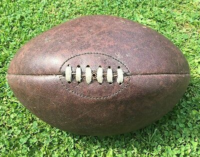 VINTAGE BROWN LEATHER RUGBY BALL Lace Up Four panels