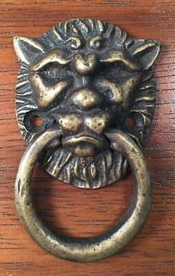 Lion Bronze Door Cabinet Handle Vintage Patina