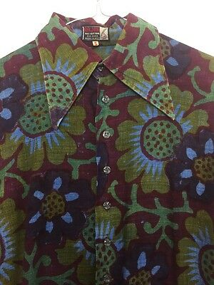 ⭐️ FAULTY Vintage 70's UNISEX Dark Neon Abstract Floral Festival Shirt