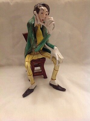 Vintage Capodimonte Statue Sculpture Hand Made man student plaid thinker signed