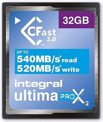 Integral 32GB 3600X Spped UltimaPro X2 CFast 2.0 Card. INCFA32G-540/520