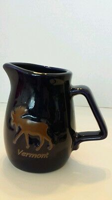 Moose Ceramic Pitcher Vermont Souvenir Logo Maple Syrup Cobalt Blue