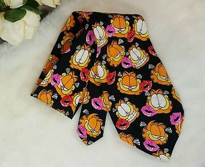 Garfield The Cat Mens Neck Tie Kiss Marks Paws Addiction