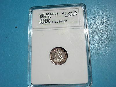 1871 Half Dime Seated UNC Details Net AU55 Corroded Cleaned ANACs