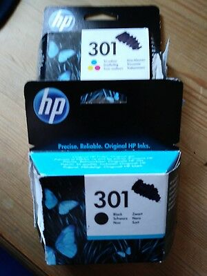 hp 301 ink cartridges x2 1 black and 1 colour ( used )