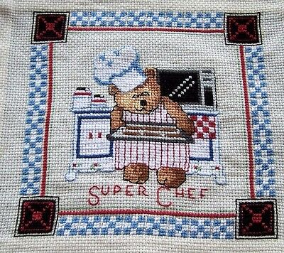 "Vintage Hand Embroidered Cross Stitch Completed Picture Kitchen ""super Chef"""