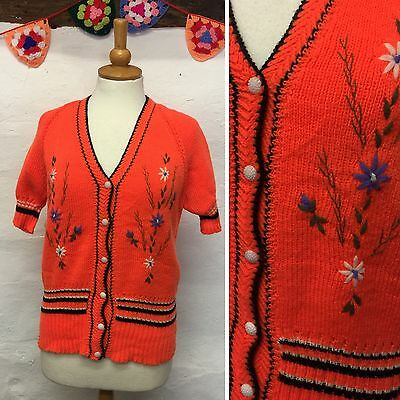 Vintage Hand-Knit Bright Orange Cardigan Floral Embroidery S/s (Vj93) Size 12-14