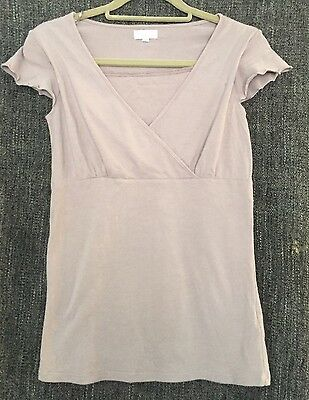 Maternity Nursing top Cap Sleeved Size 8 Lilac Vertbaudet