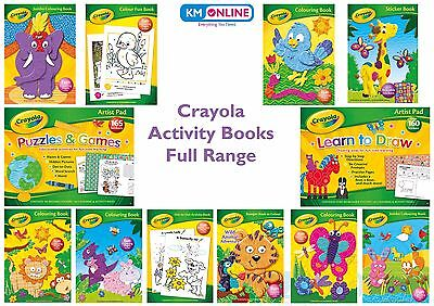 CRAYOLA COLOURING BOOKS Kids Activity Paint Drawing Puzzles Games Fun Full Range