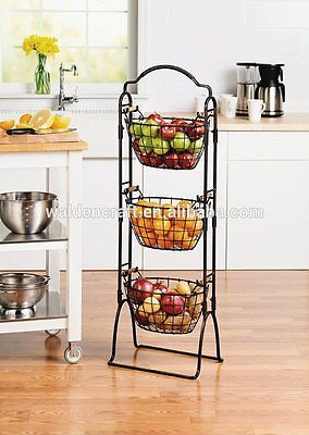 Floor Standing 3-tier Basket Handcrafted Wrought Iron  Antiqued Black Finish