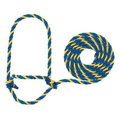 Weaver Livestock Cattle Rope Halter with 7-Foot Lead Rope Blue/Yellow