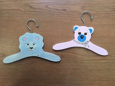 2 vintage Painted wooden childrens clothes Hangers