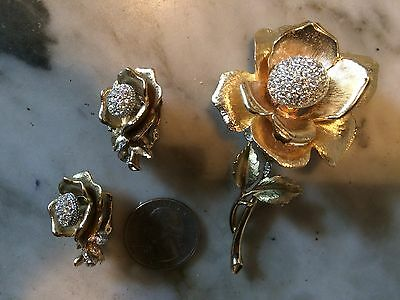 Vtg '1960 BOUCHER ? gold tone crystal rhinestone flower earrings brooch set