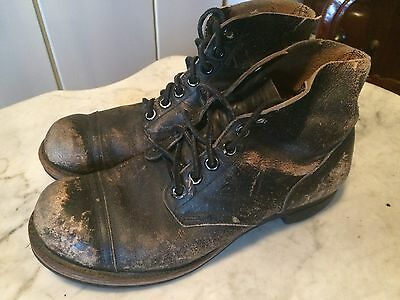 Vtg '60s army military biker hipster rockabilly mens boots sz 10 gay interest