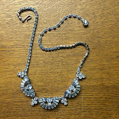 "vintage '1950  blue crystal rhinestone 16.5"" necklace unsigned Sherman"