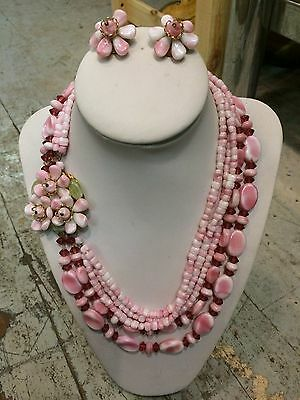 Vtg '1950 MIRIAM HASKELL pink glass flowers beads earrings necklace set