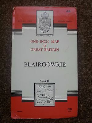 1966 OS Map - Blairgowrie Sheet 49 - Seventh Series -Priced at 6/6