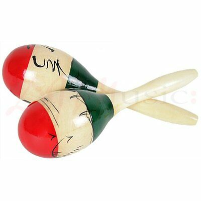 Hand Painted Large Wooden Maracas - Full Size Pair