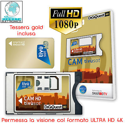 Smarcard Hd Cam Digiquest Full Hd Tv Led Con Tessera Scheda Tivusat Tivu'sat New