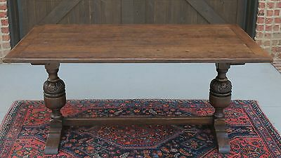 Antique French Country Carved Oak Trestle Farm Dining Library Farmhouse Table