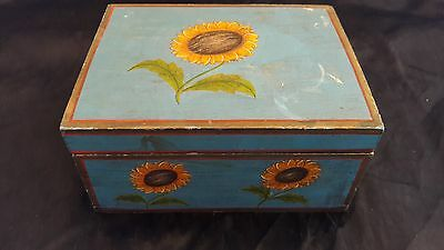 Wooden Box / Chest With Sunflower decoration