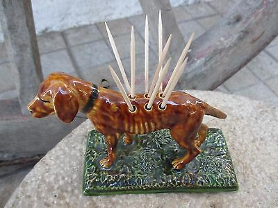 Vintage Toothpick Dispenser Dog Caldas Rainha Portugal Majolica Faience