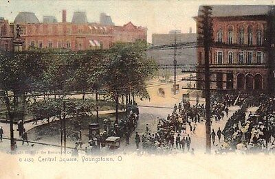 Youngstown Ohio Central Square Undivided Postcard