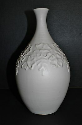Van Briggle Vase White Squeeze Bag Nelson Curtis Signed Flowers