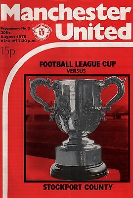 1978/79 Manchester United v Stockport County, League Cup, PERFECT CONDITION