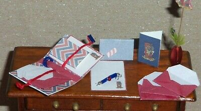 Dollhouse Miniature 14pc Stationary Card Set 4th of July Patriotic Handcrafted