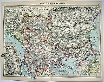 Original Map of Turkey in Europe & The Balkans by George Philip & Son. c1906