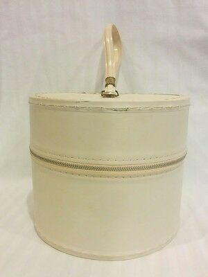 Vintage small zippered round ivory wig wiglet toupe hat cap carrying case box