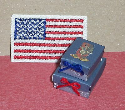 Dollhouse Miniature 2pc Storage Gift Box Set 4th of July Patriotic Handcrafted