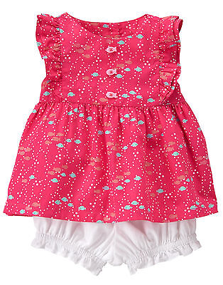 NWT Gymboree Little Splash Fish Top Bloomer Set Outfit 2PC Baby Girl